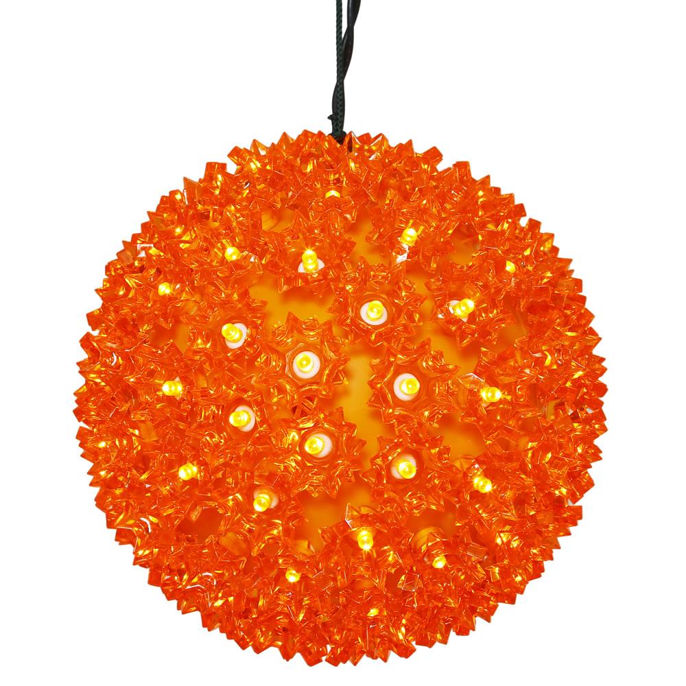 6 Inch Halloween Orange Starlight Sphere 50 Orange Lights
