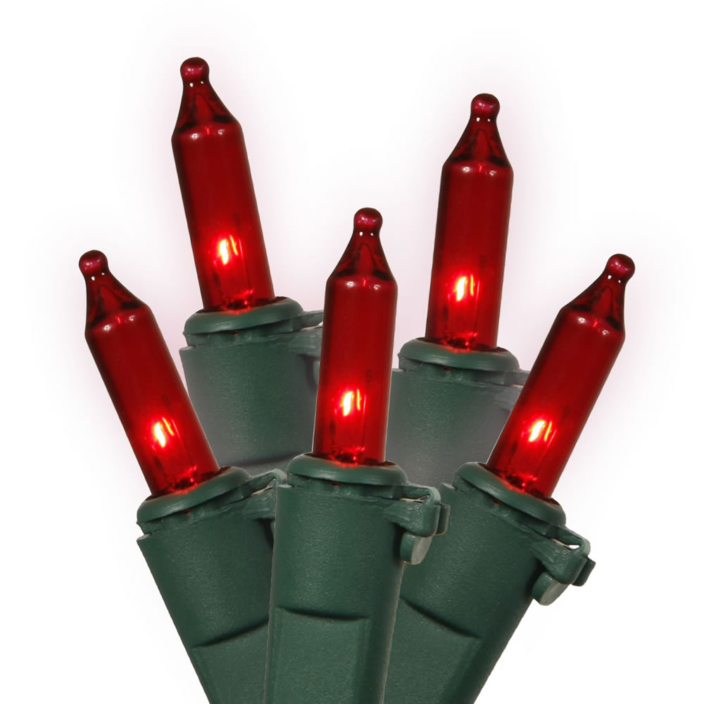 50 Red Mini Incandescent Christmas Light Set 4 Inch Spacing Green Wire