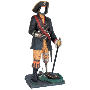 Faceless Pirate for Photo Op Life Size Halloween Decoration 6 Foot