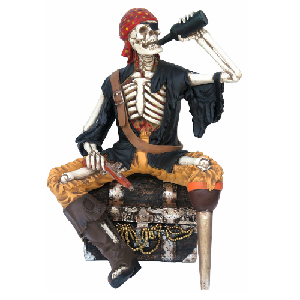 Skeleton Pirate Sitting on Chest Life Size Halloween Decoration 4.5 Foot