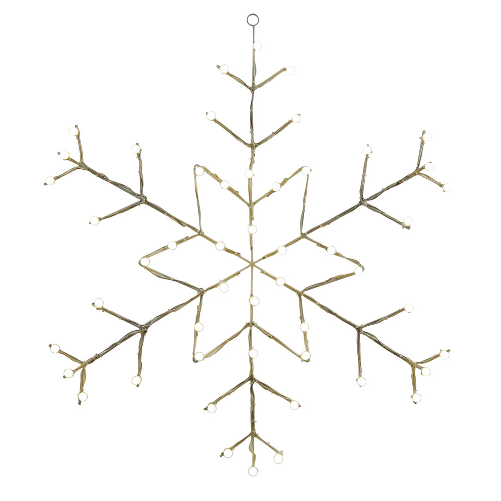 48 Inch Snowflake 50 LED C7 Warm White Lighted Christmas Decoration