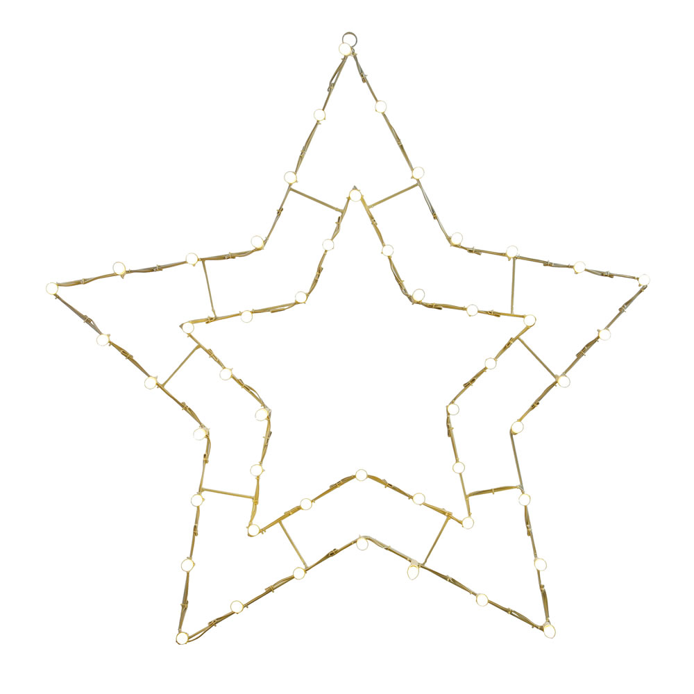 48 Inch White C7 LED 5 Point Star Wire Silhouette