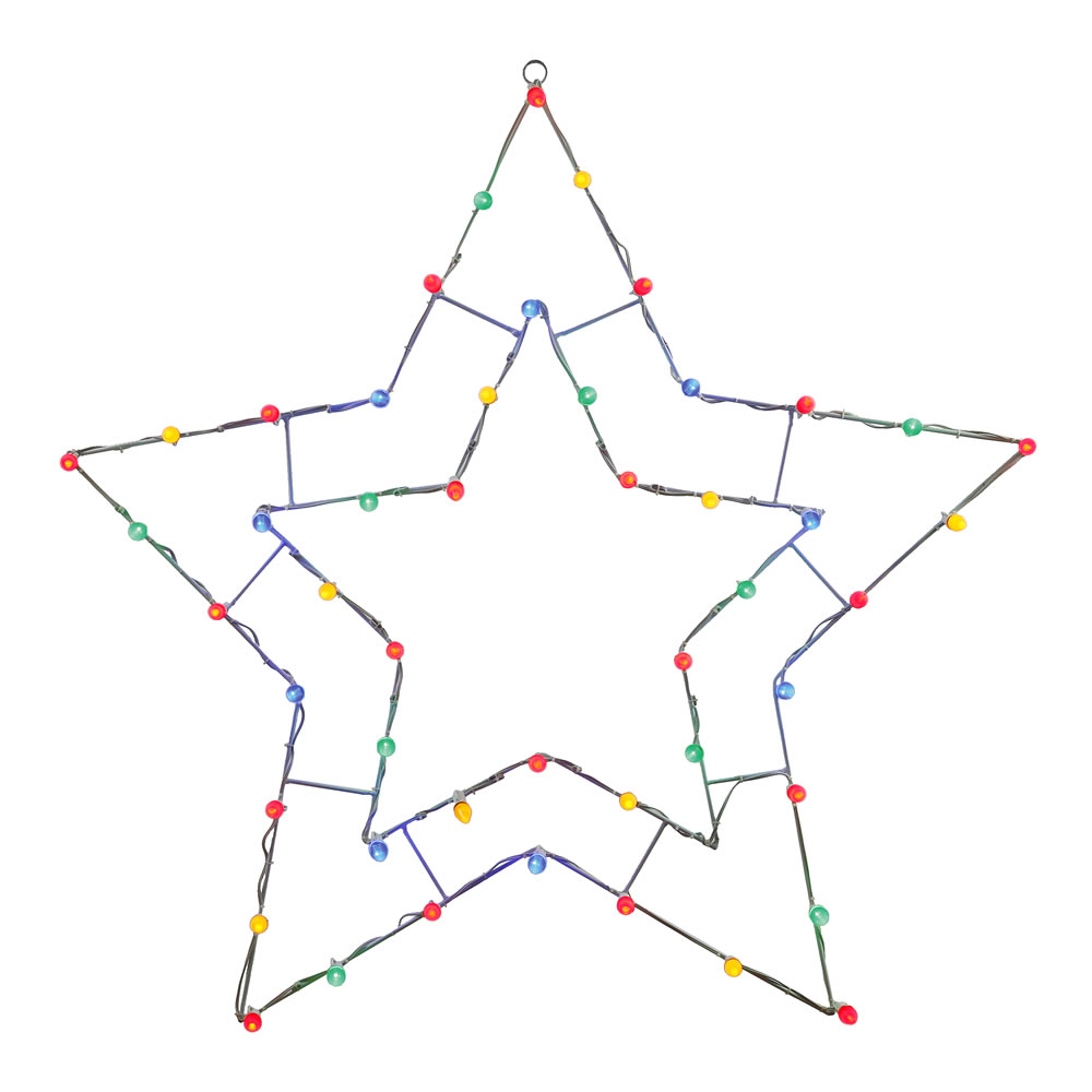 48 Inch MultiColored C7 LED 5 Point Star Wire Silhouette
