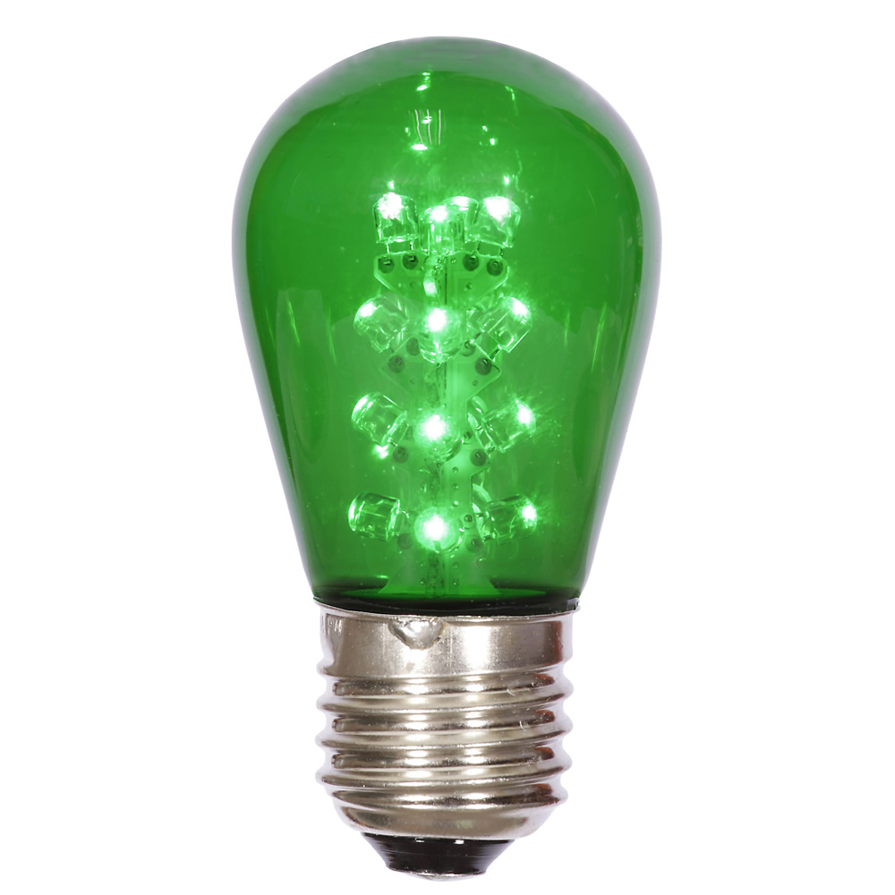 25 LED S14 Patio Transparent Green Retrofit Replacement Bulbs