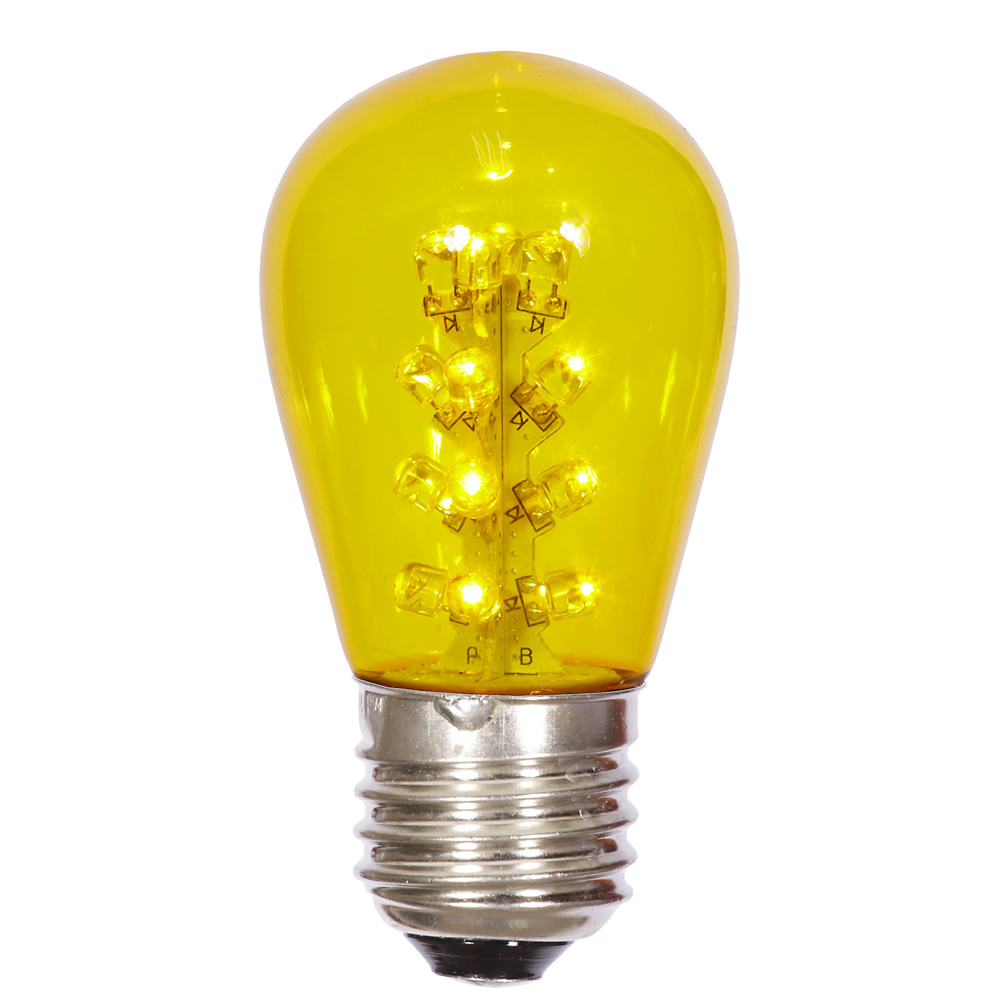 25 LED S14 Patio Transparent Yellow Retrofit Replacement Bulbs