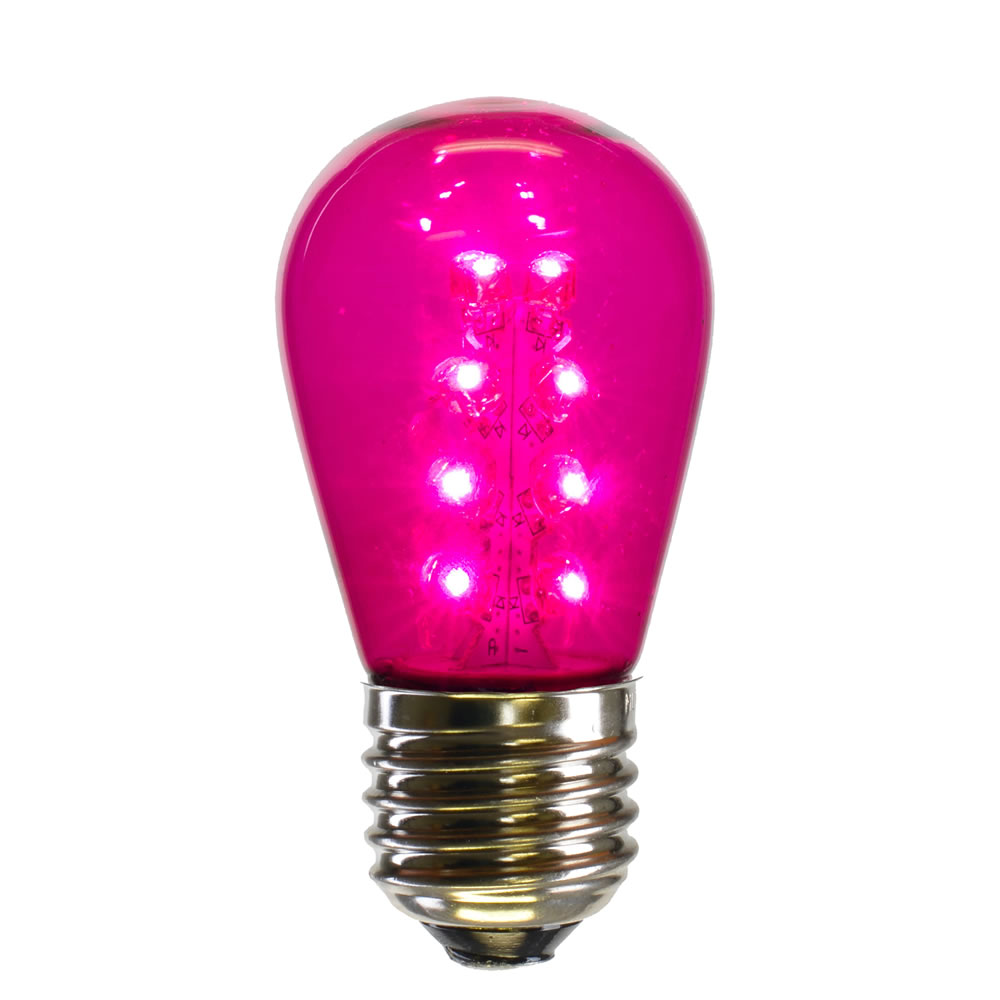25 LED S14 Patio Transparent Pink Retrofit Replacement Bulbs