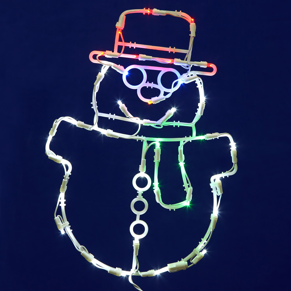 Snowman LED Lighted Window Christmas Decoration 35 LED 5MM Wide Angle Polka Dot Lights