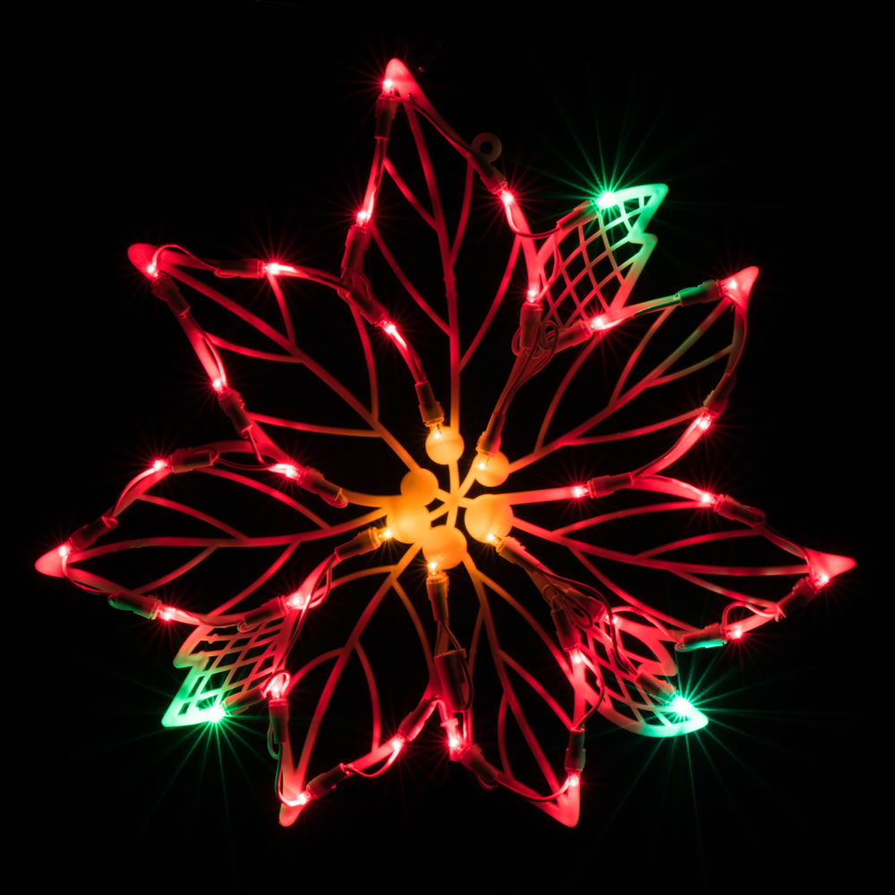 35 led 5mm wide angle polka dot poinsettia led lighted window christmas decoration - Led Christmas Window Decorations