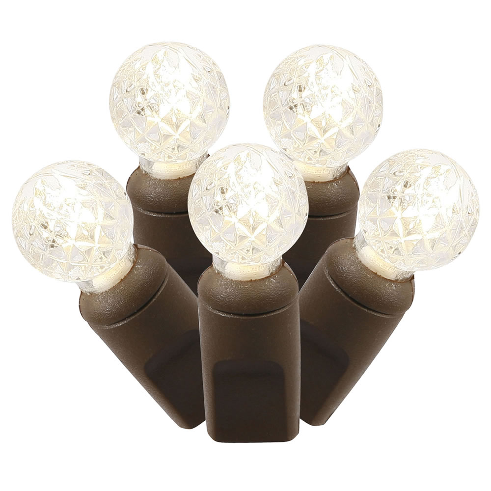 100 Commercial Grade LED G12 Faceted Berry Warm White Christmas Light Set Brown Wire Polybag
