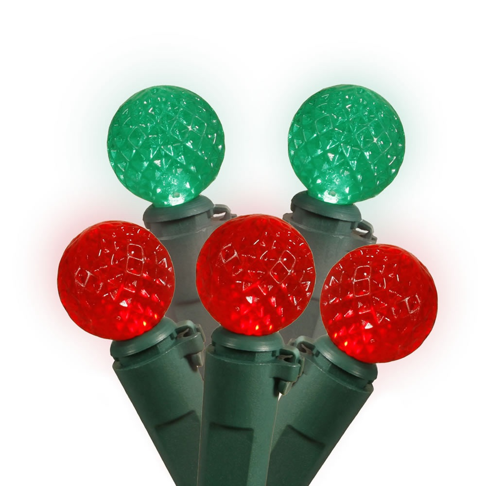 50 Commercial Grade LED G12 Red And Green Christmas Light Set Green Wire