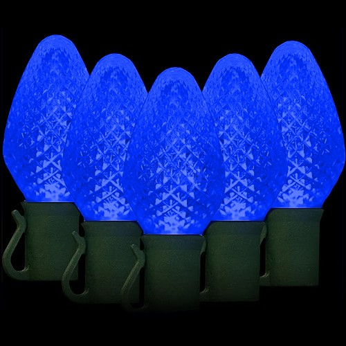 25 led c7 blue reflector christmas light set 8 inch spacing green wire - Led C7 Christmas Lights