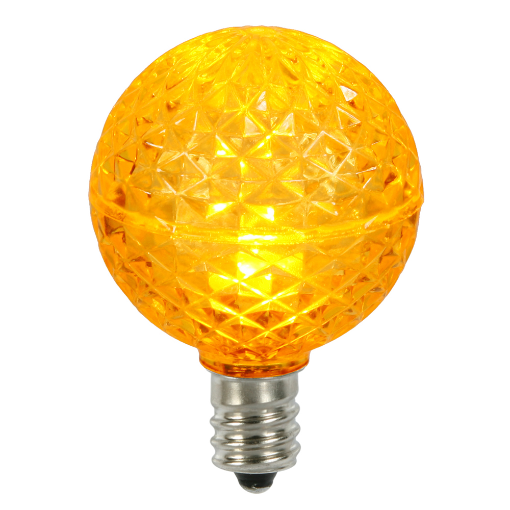 25 LED G40 Globe Yellow Faceted Retrofit Night Light C7 Socket Replacement Bulbs