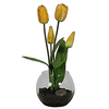 Yellow Tulip In Rose Bowl With Faux Dirt