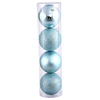 60MM Baby Blue Ornaments - Assorted Finishes - Set Of 24