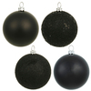 60MM Black Ornaments - Assorted Finishes - Set Of 24
