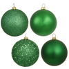 60MM Green Ornaments - Assorted Finishes - Set Of 24