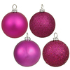 60MM Magenta Ornaments - Assorted Finishes - Set Of 24