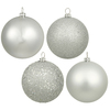 60MM Silver Ornaments - Assorted Finishes - Set Of 24