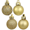 4 Inch Gold Ornaments - Assorted Finishes - Set Of 12