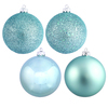 4 Inch Baby Blue Ornaments - Assorted Finishes - Set Of 12