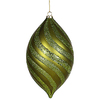 10.5 Inch Dark Olive Glitter Swirl Matte Drop Ornament - Case Of 2